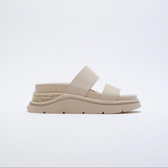NWT. Zara Ecru Chunky Sport Sandals. Size 10.